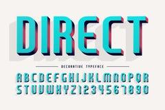 Dekorativer Guss 3d, Buchstaben und Zahlen vector Illustration Stockfotografie