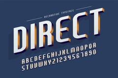Dekorativer Guss 3d, Buchstaben und Zahlen vector Illustration Lizenzfreie Stockbilder