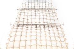 Dekorativer Hintergrund in der Marineart in Form eines umsponnenen Seils, Gewebe stockfoto