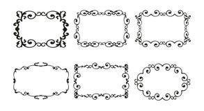 Dekorativer Hintergrund der Weinlesekalligraphie, vector Retro- antiken leeren königlichen barocken Grenzrahmensatz Minimalistic- Lizenzfreie Stockfotos