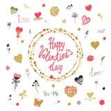 Dekorativer Hintergrund des Valentinstags mit Herzen, Blumen und Schmetterlingen Schablone für Grußkarte, Hochzeit Stockbild