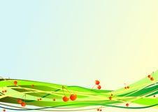 Dekorativer Hintergrund mit Beeren und Streifen Stockfoto
