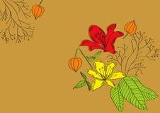 Dekorativer Hintergrund mit Lilienblumen und -anlagen Stockfotografie