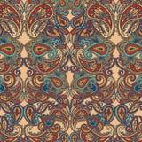 Dekorativer Hintergrund von Hand gezeichnetes Henna Mehndi Abstract Mandala Flowers und Paisley-Gekritzel Stockfoto