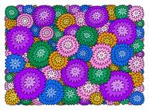 Dekorativer Hintergrund von Purpurroten, Rosa-, Grünen und Blauenblumen vektor abbildung