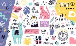 Dekorativer horizontaler Hintergrund oder Hintergrund mit netten exotischen Tieren, Anlagen, Früchte, handgeschriebene Motivsloga vektor abbildung