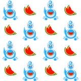 Dekorativer Karikaturdrache mit einer Scheibe des nahtlosen Musters der Wassermelone Stockbild