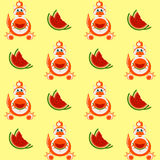 Dekorativer Karikaturdrache mit einer Scheibe des nahtlosen Musters der Wassermelone Lizenzfreies Stockfoto