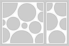 Dekorativer Kartensatz für den Schnitt von Laser oder von Plotter geometrische Kreismusterplatte Laser-Schnitt Verhältnis1:2, 1:1 lizenzfreie abbildung