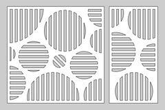 Dekorativer Kartensatz für den Schnitt von Laser oder von Plotter geometrische Kreismusterplatte Laser-Schnitt Verhältnis1:2, 1:1 stock abbildung