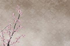 Dekorativer Kirschbaum und chinesisches Muster filigre Lizenzfreie Stockfotografie