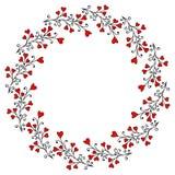 Dekorativer Kranz mit Blättern und Herzen stock abbildung