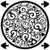 Dekorativer Kreis mit Seeelementen Stockbilder