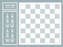 Dekorativer Laser-Schnitt des Schachspiels Geometrische Verzierung Schachbrett- und Schachstücke Schablone für Laser-Ausschnitt d Stockfotos