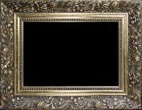 Dekorativer leerer goldener hölzerner Bilderrahmen Stockfoto