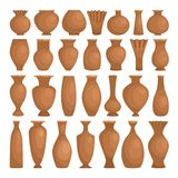 Dekorativer Lehm der alten Schüsseln Keramische rustikale Vasen des Vektors lokalisiert auf weißem, dekorative Herstellungstöpfe  lizenzfreie abbildung