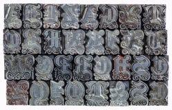 Dekorativer Metallhhhochhdrucktyp Stockfoto