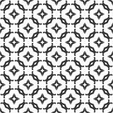 Dekorativer nahtloser geometrischer schwarzer u. weißer Muster-mit Blumenhintergrund lizenzfreie abbildung