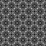 Dekorativer nahtloser geometrischer schwarzer u. weißer Muster-mit Blumenhintergrund Blumen, Geometrie stock abbildung