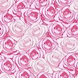 Dekorativer nahtloser Hintergrund mit hellen rosa Rosen und Licht Stockfotografie
