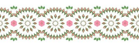 Dekorativer nahtloser Streifen/Grenze mit Blumenvolksmuster stock abbildung