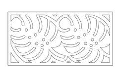 Dekorativer Plattenlaser-Ausschnitt Hölzernes Panel Elegantes modernes monstera Muster Baum-Urlaub schablone Verhältnis1:2 Auch i stock abbildung