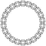 Dekorativer Rahmen der runden Form geometrisches Muster der schwarzen Farbe Lizenzfreies Stockfoto