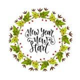 Dekorativer Rahmen des Aquarellkranzes Für Einladungs- und Grußkarte Neues Jahr-neuer Anfang Inspirierend und Motiv-handwritt lizenzfreie abbildung