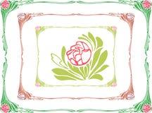 Dekorativer Rahmen mit einer Rose Stockbild