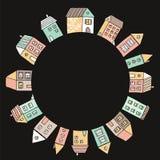 Dekorativer Rahmen mit Hand gezeichneten Häusern vektor abbildung