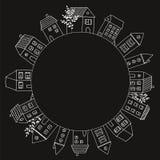 Dekorativer Rahmen mit Hand gezeichneten Häusern lizenzfreie abbildung