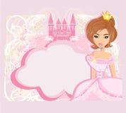 Dekorativer Rahmen mit schöner Prinzessin und rosa Schloss Lizenzfreie Stockfotos