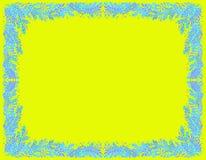 Dekorativer Rahmen von blauen Niederlassungen auf einem hellen gelben Hintergrund stock abbildung