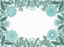 Dekorativer Rahmen von blauen und grünen Blumen und von Blättern stock abbildung