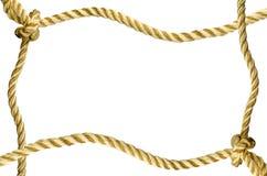 Dekorativer Rahmen von einem goldenen Seil Stockbilder