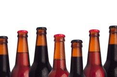 Dekorativer Rahmen von Satzkopf-Bierflaschen mit dem Träger, Ale, Lager-Bier und Wassertropfen lokalisiert auf weißem Hintergrund Stockfotos