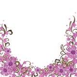 Dekorativer rosafarbener Blumenrand Stockbilder
