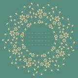 Dekorativer runder Rahmen mit schönen Blumen und Anlagen lizenzfreie abbildung