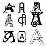 Dekorativer Satz des Vektors von Buchstaben a Lizenzfreie Stockfotos
