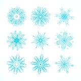 Dekorativer Schneeflocken-Vektor-Satz Lizenzfreie Stockbilder