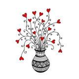 Dekorativer Vase mit netten Herzblumen Lizenzfreie Abbildung