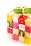 Dekorativer Würfel von bunten Quadraten der tropischen Frucht Stockbild