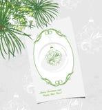 Dekorativer Weihnachtshintergrund mit Grußkarte Stockfoto