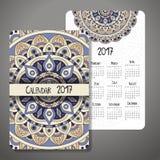 Dekorativer Weinlesekalender 2017 Orientalisches Muster Vektormandaladesign kann für Plakat, Fahne, Karte verwendet werden Lizenzfreies Stockbild