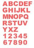 Dekoratives Alphabet mit den Buchstaben bestanden aus roten Punkten Stockbild