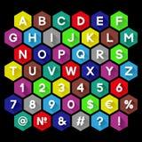 Dekoratives Alphabet mit langem Schatten Flaches Design Lizenzfreie Stockbilder