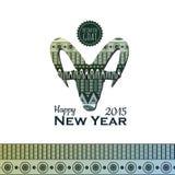 Dekoratives backgroun mit Ziege Neues Jahr 2015 Lizenzfreie Stockfotos