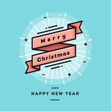 Dekoratives Band der frohen Weihnachten, dünne Linie Fahne des flachen Designs Stockbild