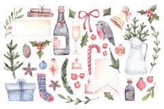 Dekoratives Bild einer Flugwesenschwalbe ein Blatt Papier in seinem Schnabel Dekorative Weihnachtselemente mit Flor lizenzfreie abbildung