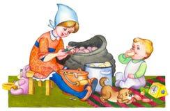 Dekoratives Bild einer Flugwesenschwalbe ein Blatt Papier in seinem Schnabel Kinder in der Küche, die Mahlzeit vorbereitet Stockfotos